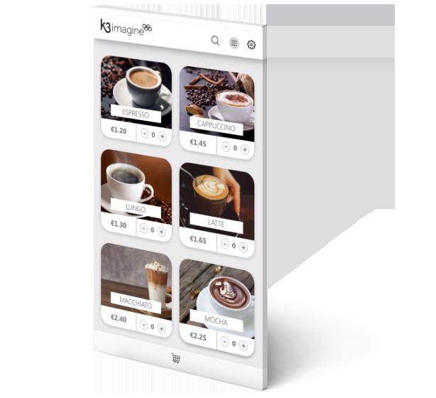 Screenshot of K3|imagine cafe app